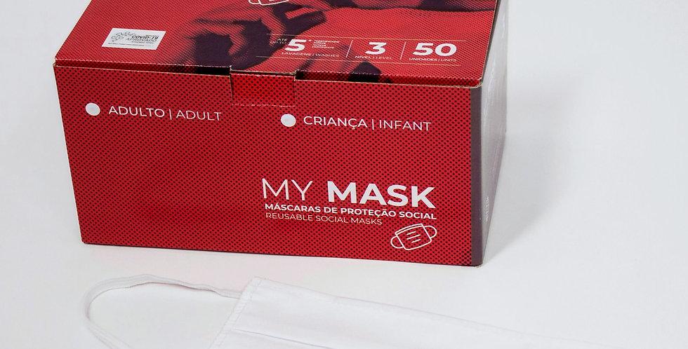 Máscara Social Reutilizavel (5 lavagens) - 50 unidades