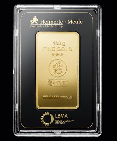 100 g Goldbarren vorne