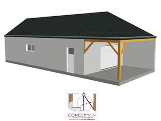 PERMIS DE CONSTRUIRE - Garage avec partie avant préau.