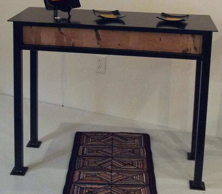 Black Satin Table with Birch Veneers