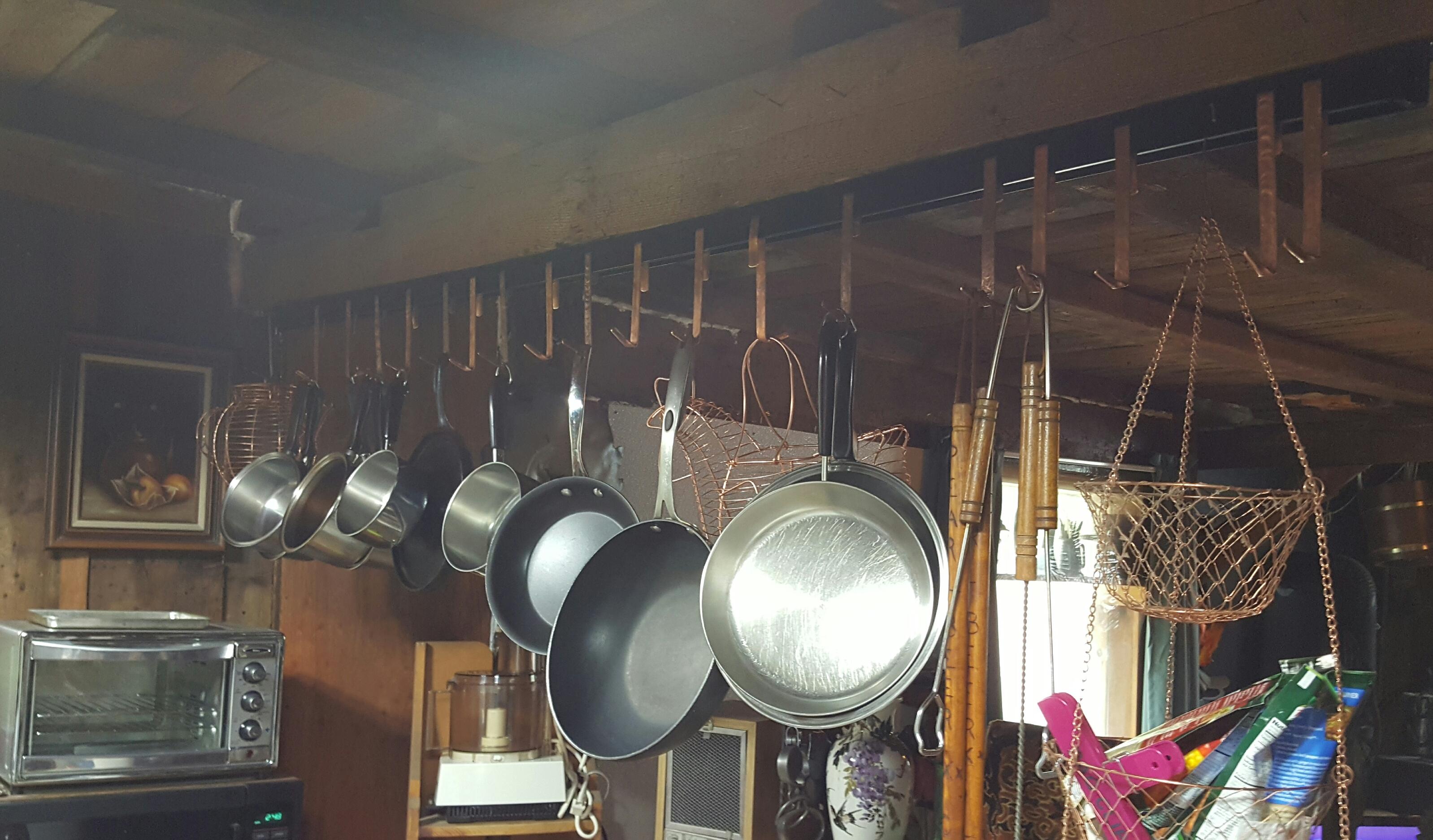 Pot Hanger w/ copper formed hooks