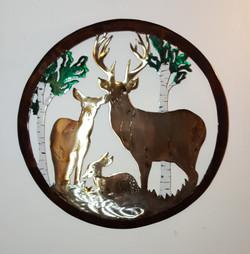 Deer Family in Round Frame
