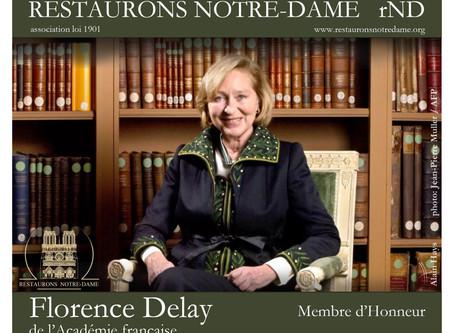 Florence Delay, de l'Académie française, rejoint l'association Restaurons Notre-Dame