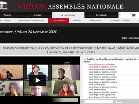 Audition de Madame Roselyne Bachelot, Ministre de la Culture par la mission parlementaire Notre-Dame