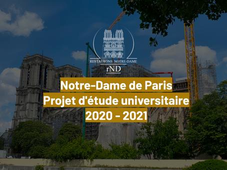 Projet d'étude universitaire de la restauration de la charpente, flèche et toiture de Notre-Dame