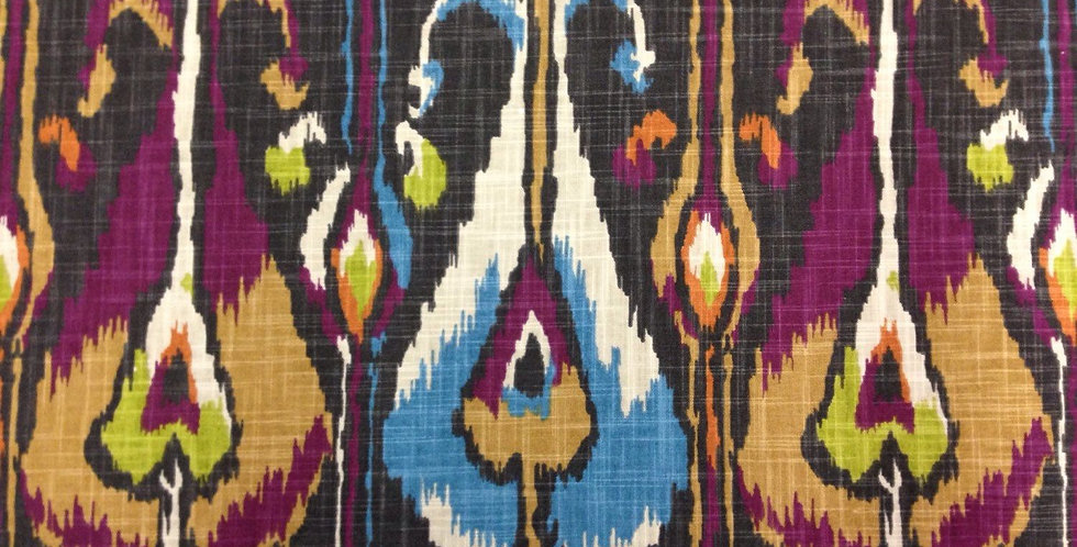 Tribal Ikat Upholstery fabric - Ikat Bands Slub Fabric