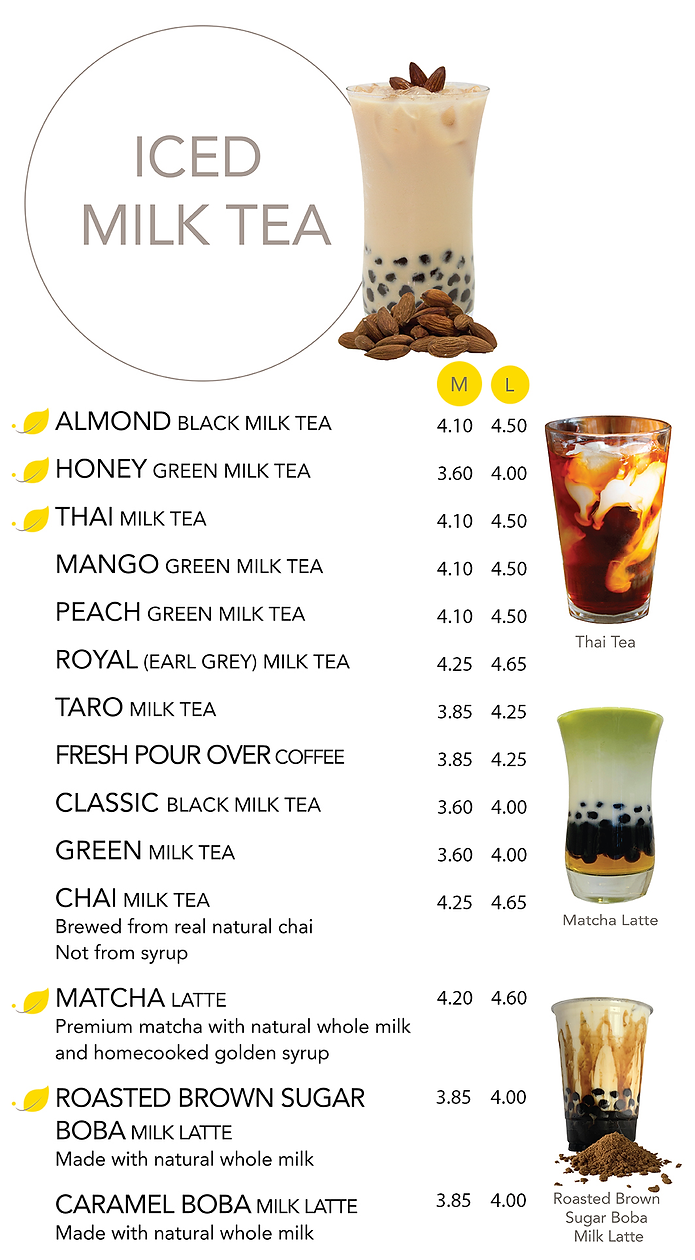 A list of Iced Milk Teas and their prices ranging from $3.90 to $4.85
