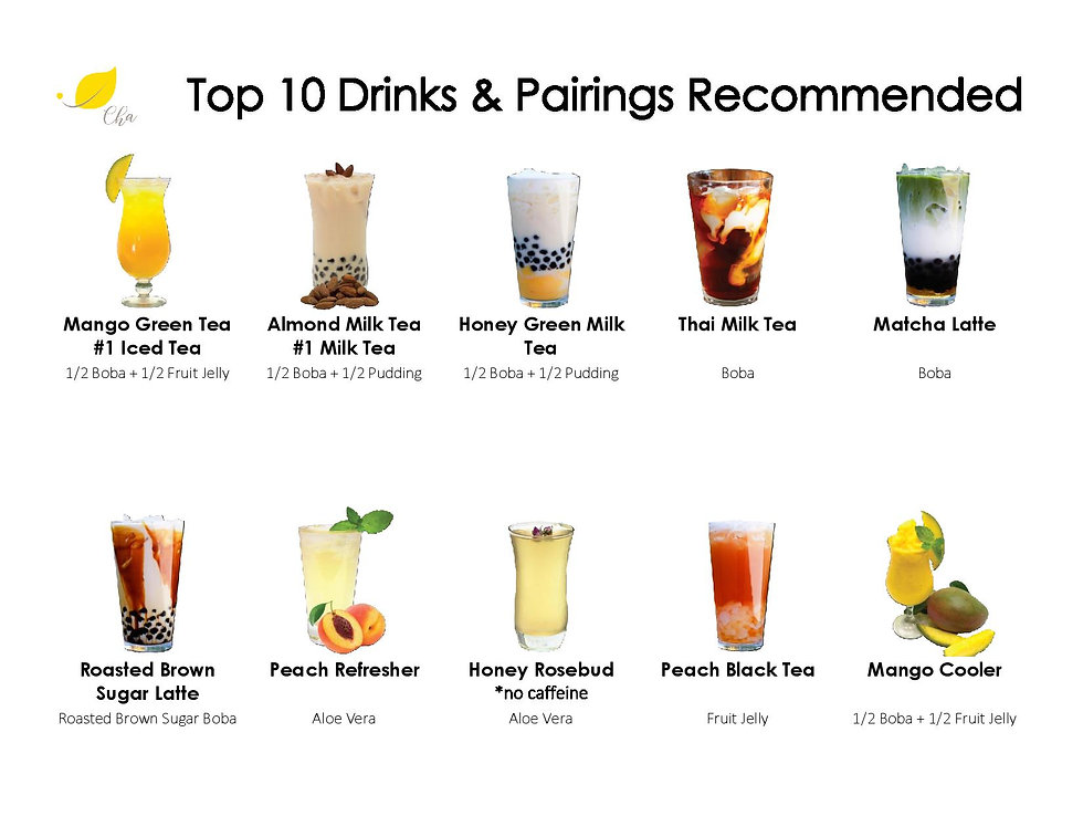 Top 10 Most Popular Drinks. Mango Green Tea, Almond Milk Tea, Honey Green Milk Tea, Thai Tea, Match