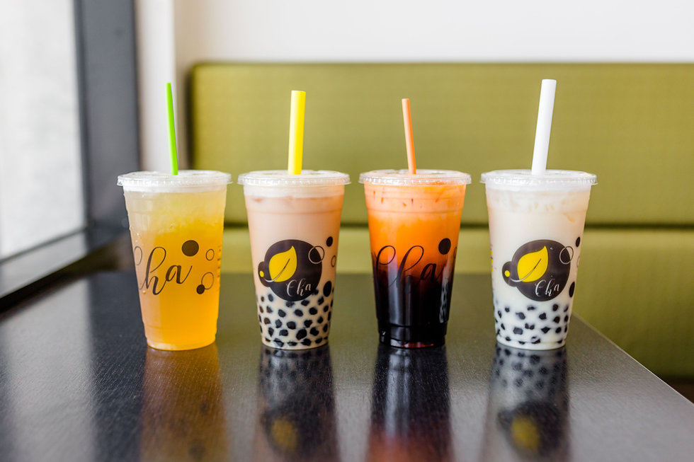 boba drinks lined up