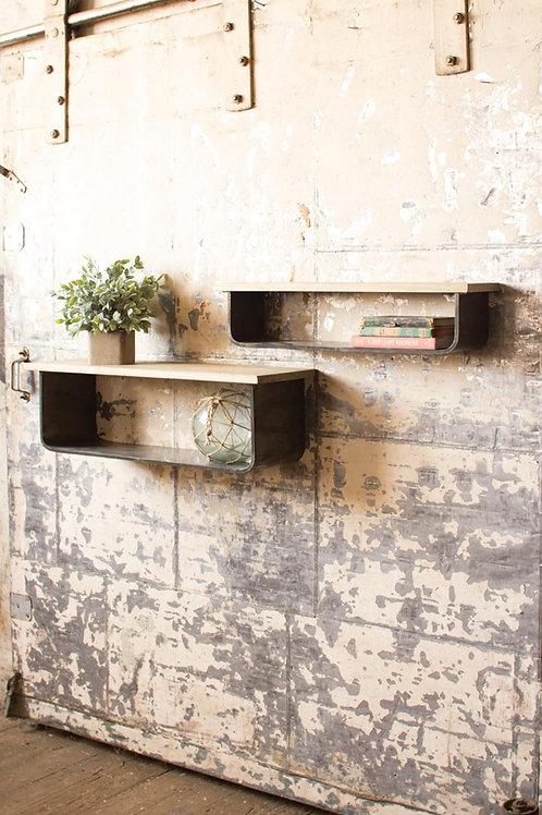 Metal and Wood Shelves - Set of 2