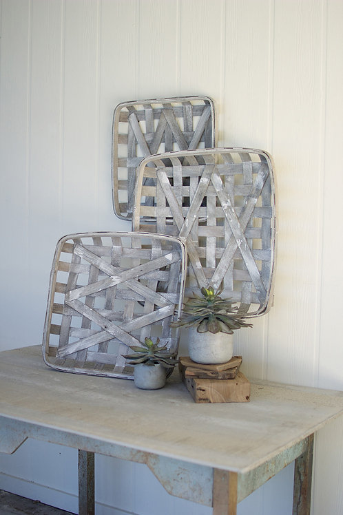 Gray Washed Woven Wood Baskets - Set of 3