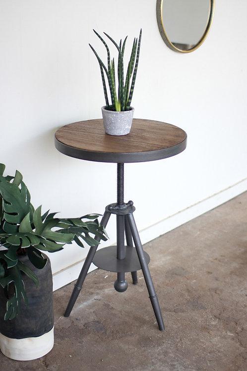 Adjustable Wood and Metal Side Table