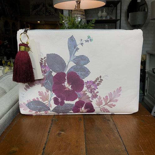 Purple Floral Zip Bag- Large