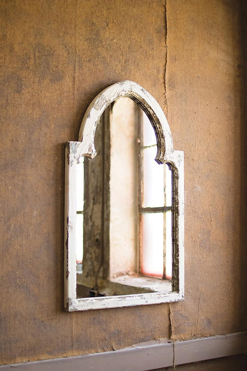 Wood Framed Mirror- White and Gold