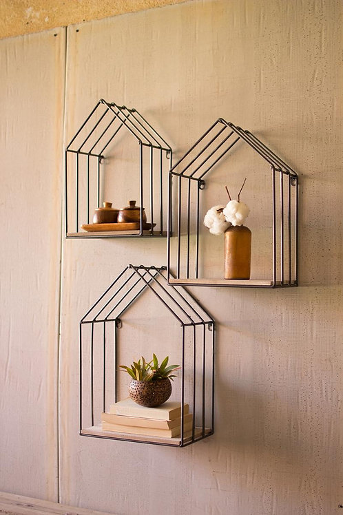 Wood and Metal House Shelves - Set of 3