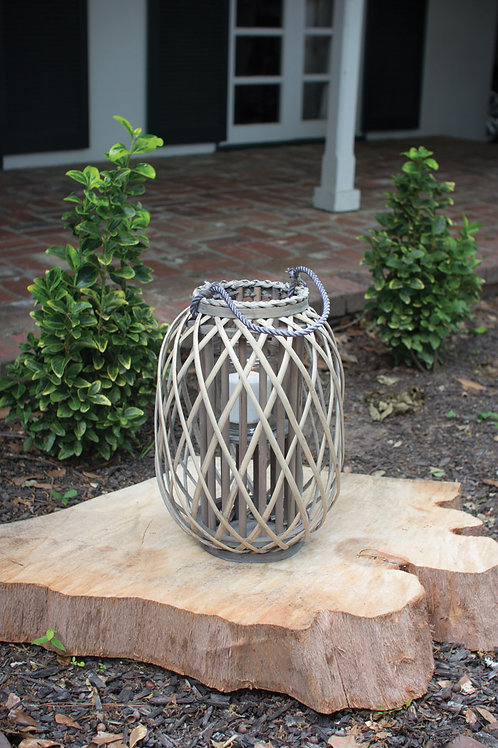 Gray Willow Lantern with Glass - Small