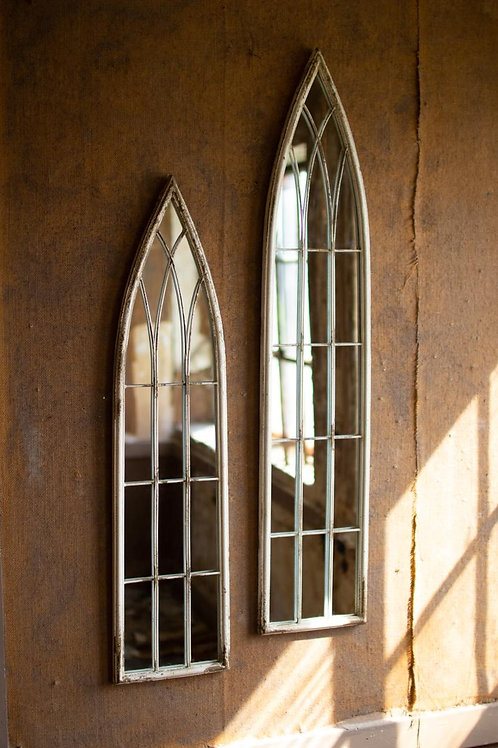 Tall Metal Painted Church Mirrors- Set of Two
