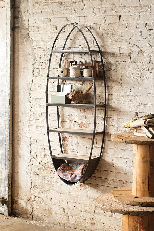 Metal and Wood Oval Shelf