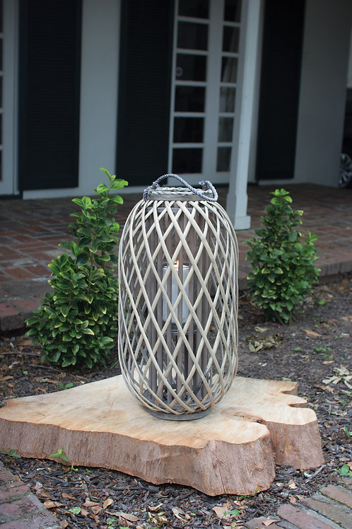 Gray Willow Lantern with Glass - Large