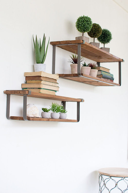 Recycled Wood and Metal Shelves - Set of 2