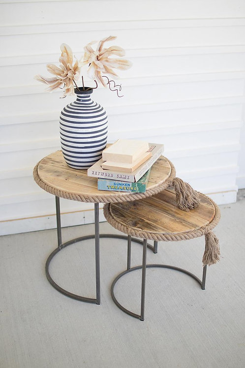 Recycled Wood Nesting Tables - Set of 2
