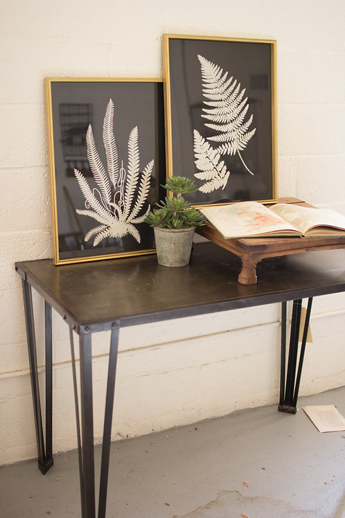 Black and White Fern Prints Under Glass - Set of 2