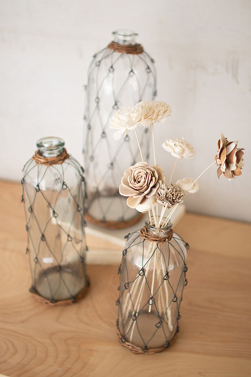 Wire and Wicker Wrapped Glass Bottles - Set of 3