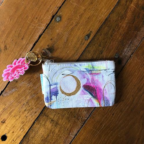 Pink Abstract Zip Bag- Small