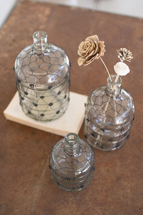 Wire Wrapped Clear Glass Jugs - Set of 3