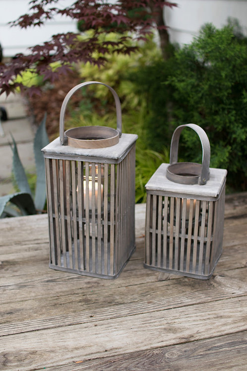 Square Bamboo Lanterns with Glass - Set of 2