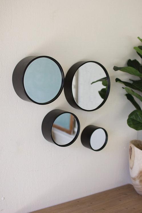 Antique Black Round Metal Wall Mirrors - Set of 4