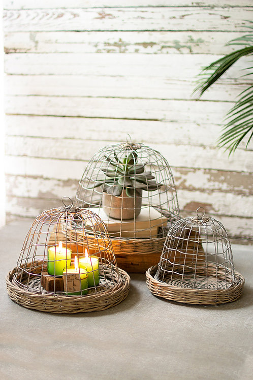 Wire Cloches with Wicker Bases - Set of 3