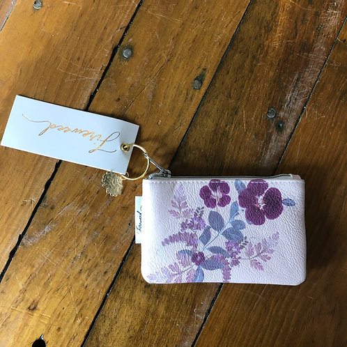 Purple Floral Zip Bag- Small