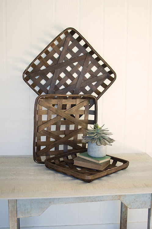 Brown Woven Wood Baskets- Set of 3