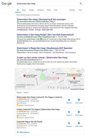 """Zoekresultaten """"Slotenmaker Den Haag"""" op Google"""