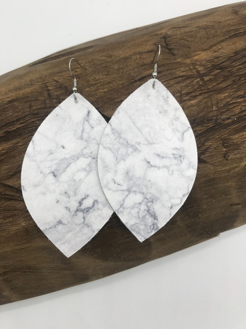 69c41475229941 MARBLE - leather earrings Measure 3 inches in length.