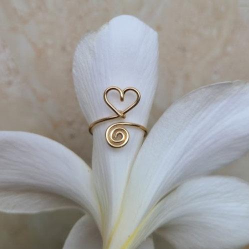 Heart Spiral toe ring