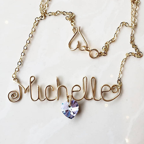 Smooth name chain with Heart Crystal