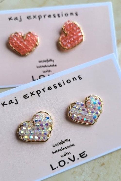 Sparkle Heart Studs