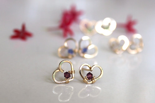Birthstone Heart Stud (Square edition)