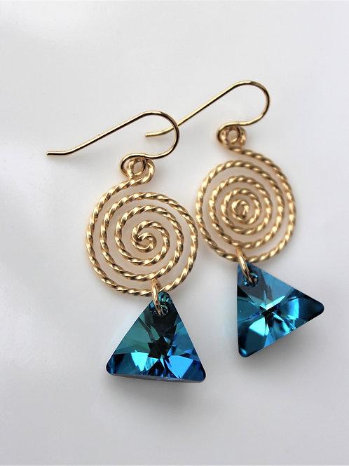Spiral Sapphire TriangleDrops