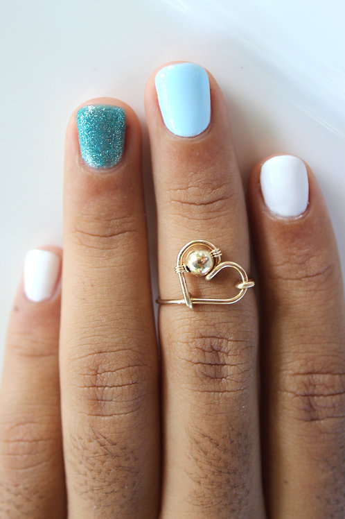 Gold on Gold Heart Ring