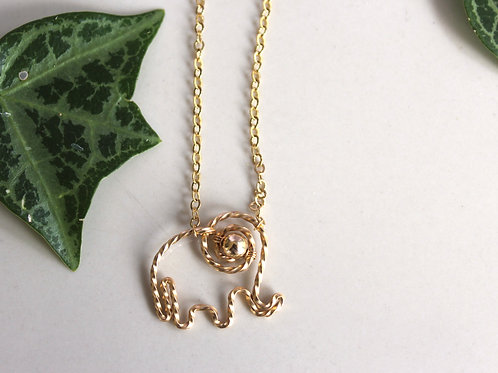 Gold on Gold Elephant Necklace