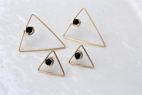Black Onyx Geometric Studs