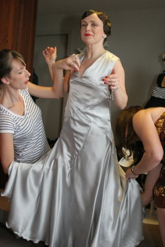 """Clare"".1930's style silk satin wedding dress."