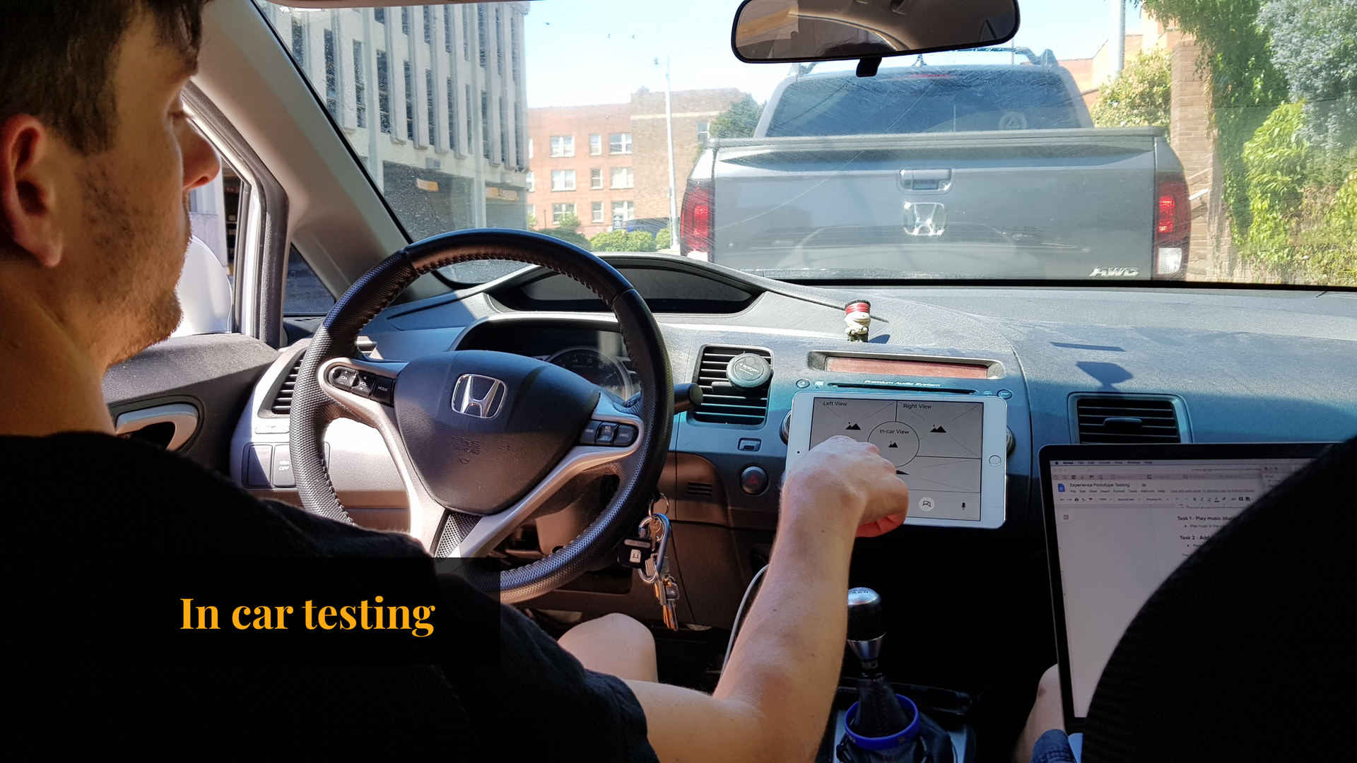 Participant Reviewing Prototype In-Car Experience
