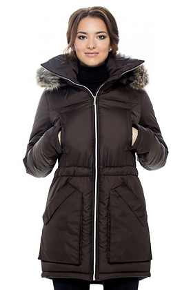 Winter Parka with Faux Fur (Chocolate)