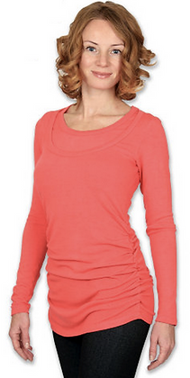 Coral Soft Stretch Maternity and Nursing Top
