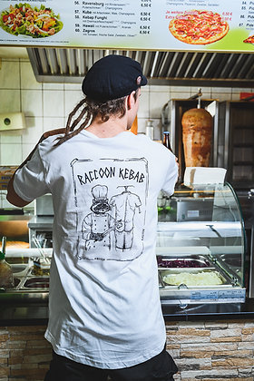 "T-Shirt ""Human kebab"" / men´s / white black // 100 % Bio-Cotton"