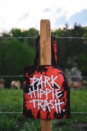 """""""Raccoon Dark Hippie Trash"""" Tasche Bio-Baumwolle, bleached-black (Fairtrade)"""